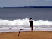 Surf fishing is a relaxing activity